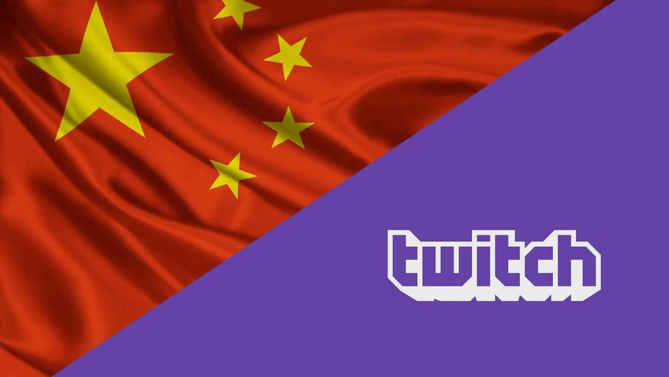 A collage of Chinese flag and Twitch's logo