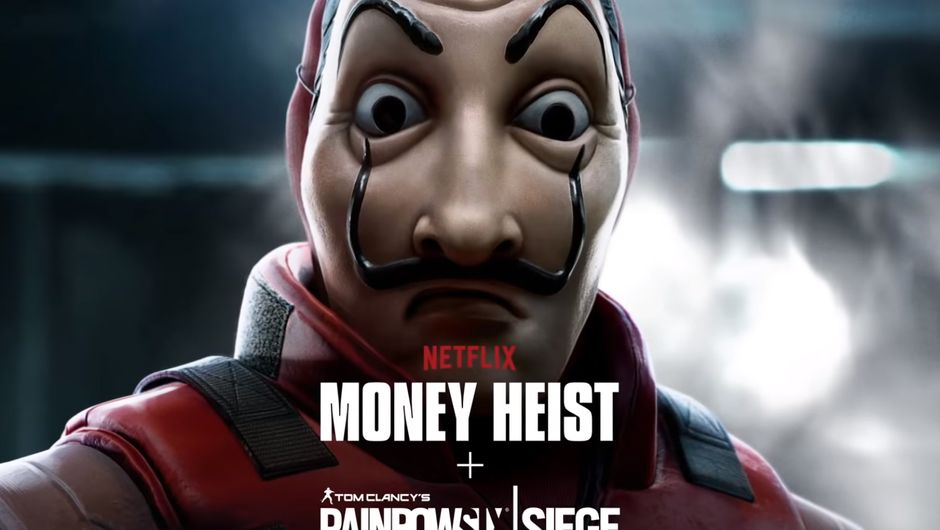 artwork showing a masked man from Money Heist x Rainbow Six Siege