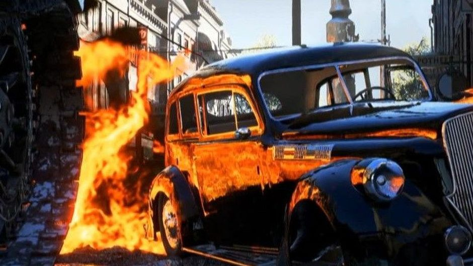 Picture of a car and an explosion showing the RTX reflections