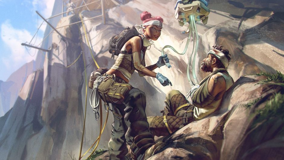 Picture of Lifeline from Apex Legends healing some dude