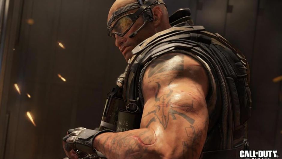A large tattooed man holding a rifle in Call of Duty: Black Ops 4