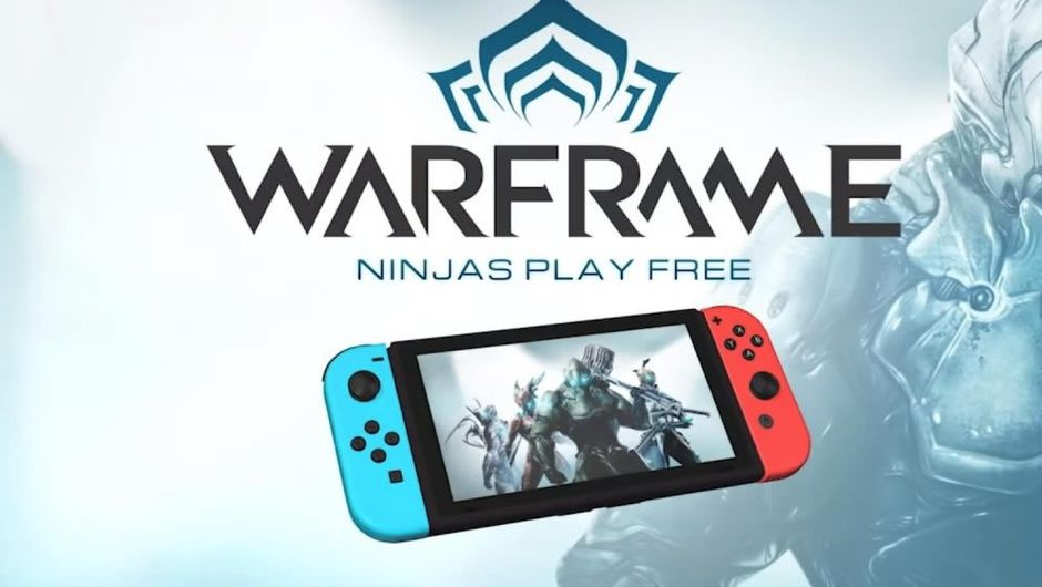Advertisment slide for co-op shooter Warframe for the Switch