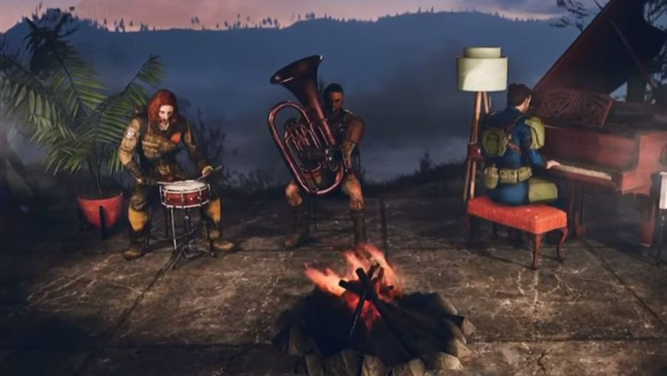 Several people are playing different instruments in Fallout 76