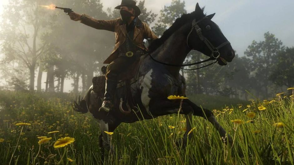 picture showing gun shooting cowboy riding a horse in the forest