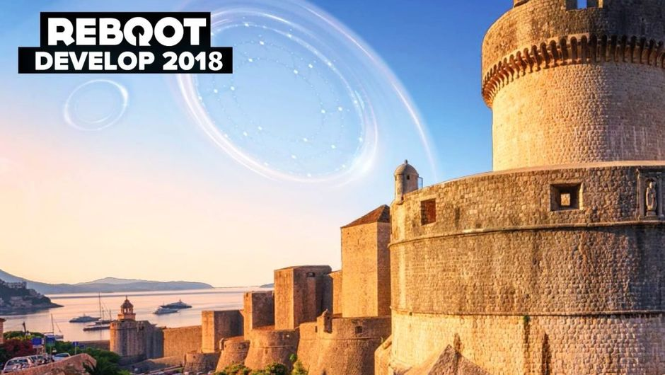 Promotional image for Reboot Develop 2018 showing bastion of costal fortres in Dubrovnik