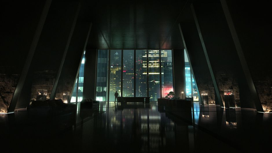 A huge office overlooking the city of Seattle in Vampire: The Masquerade - Bloodlines 2.