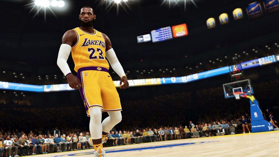 LeBron James wearing his new LA Lakers uniform.