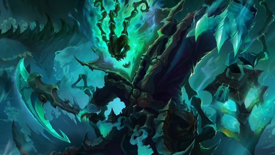 Splash art for Thresh, the Chain Warden from League of Legends.