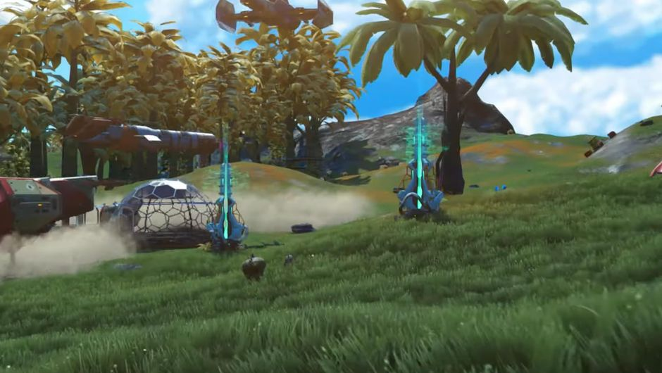Field with beacons and a spaceship from No Man's Sky: Beyond
