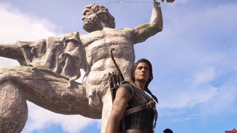 Kassandra is standing in front of a Zeus statue she's about to conquer