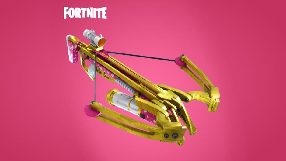 Yellow crossbow from the game Fortnite against a pink backdrop