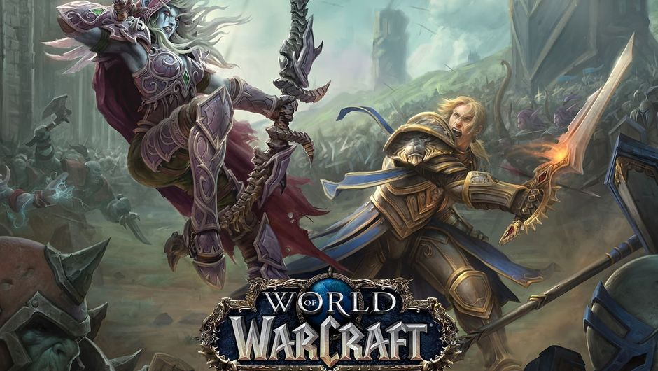 Sylvanas and Anduin battling with horde and alliance respectively aiding them