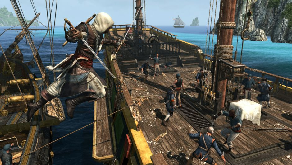 Boarding an enemy ship in Assassin's Creed: The Rebel Collection.