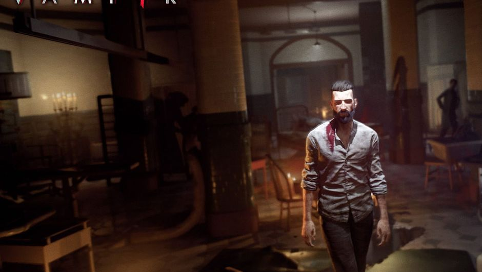 The protagonist walking through a building bloodied