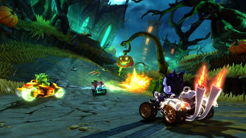 Crash Team Racing screenshot showing halloween map