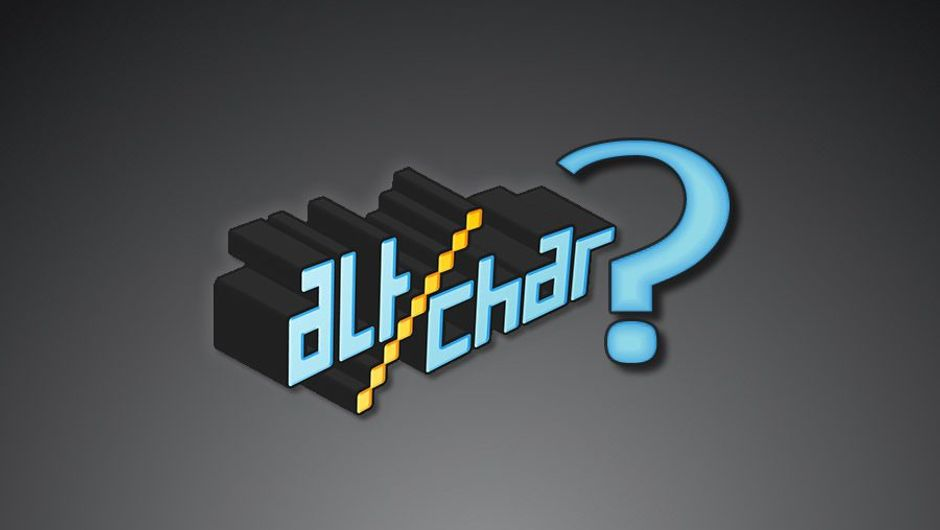 Logo of website AltChar next to a blue questionmark