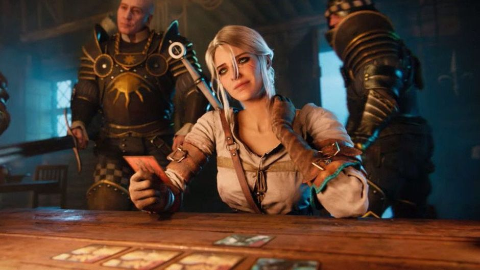 Screenshot from The Witcher 3 of Ciri playing GWENT in a tavern.
