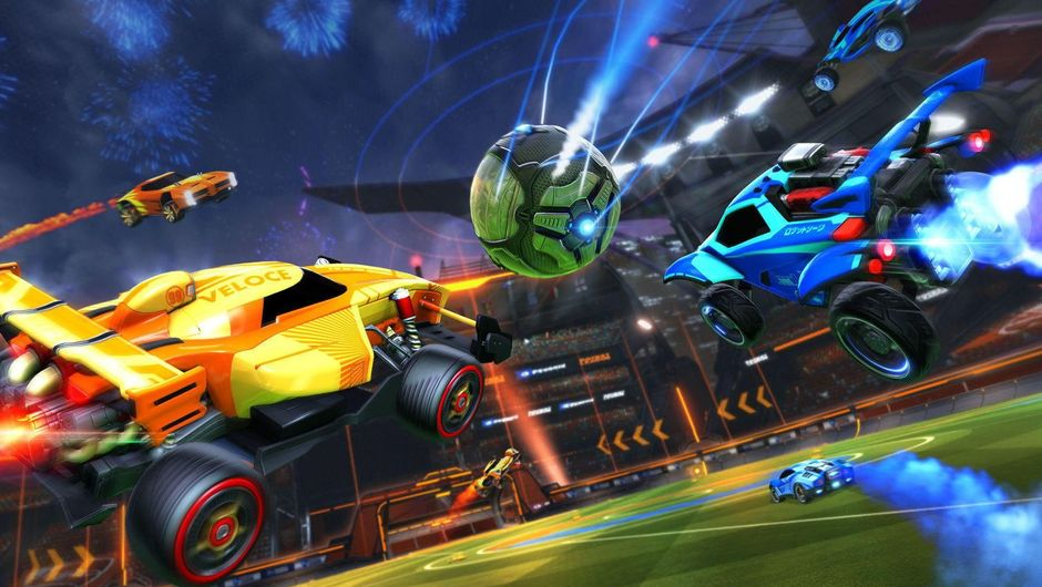 Two cars chasing a ball in Rocket League