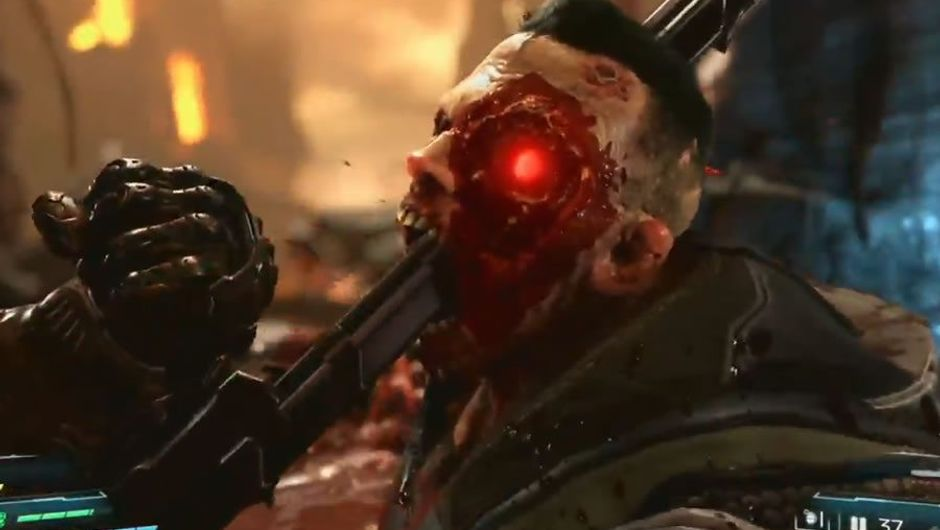 Screen capture from gameplay video of DOOM Eternal