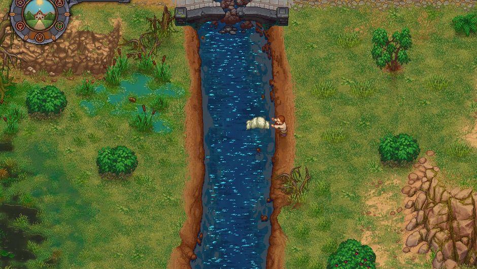 A screenshot of Graveyard Keeper's protagonist