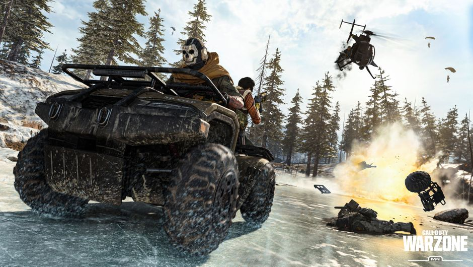 Call of Duty: Warzone showing a team riding on a quad bike
