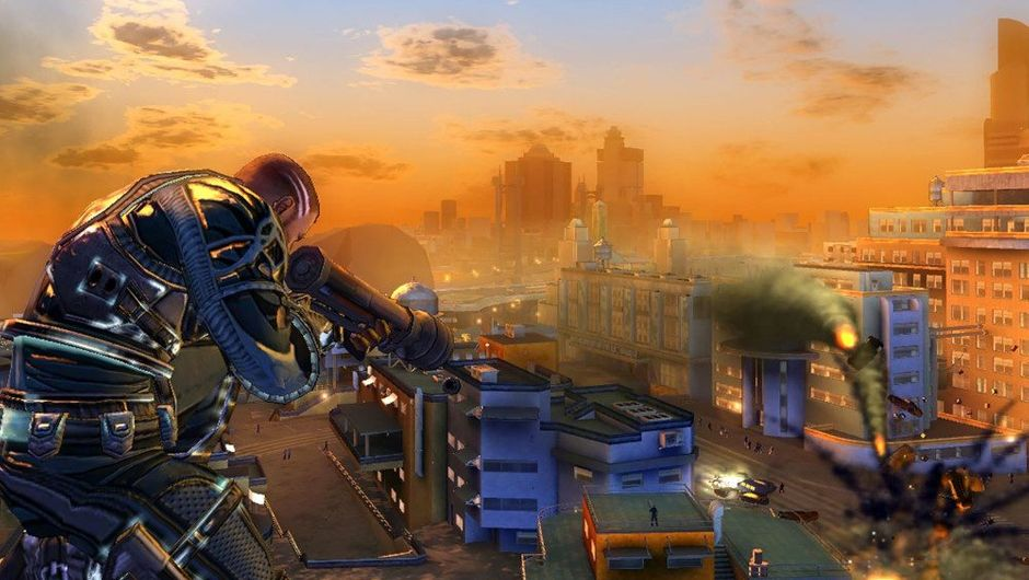 picture showing futuristic soldier with a gun standing on top of the building