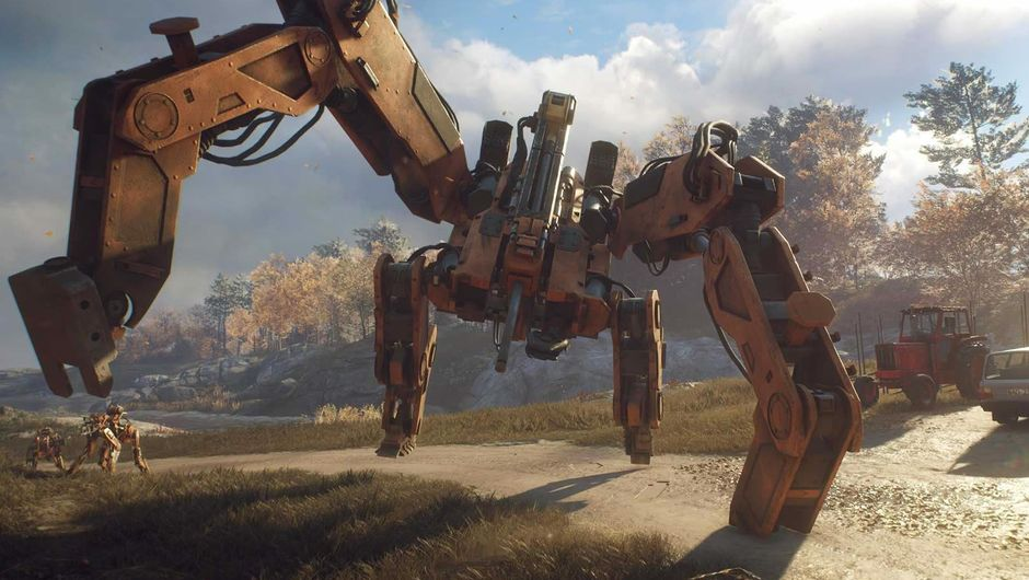 A huge machine watching over two small ones in Generation Zero